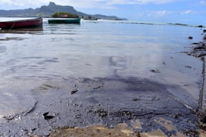 Leaked oil washes ashore