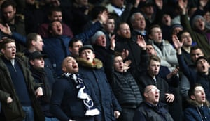 The Millwall fans exercise their vocal cords.