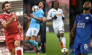From left: Mo Salah has thrived at Liverpool, as has Kyle Walker at Manchester City, but Swansea's Renato Sanches and Leicester's Kelechi Iheanacho have not made the starts expected of them.
