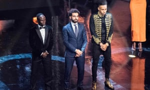 The three finalists, from left to right, Sadio Mané, Mohamed Salah and Pierre-Emerick Aubameyang, line up on stage.