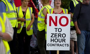 A protest against zero-hour contracts in the UK. 'This is an incredible victory,' said New Zealand Unite leader Mike Treen after parliament banned the practice.