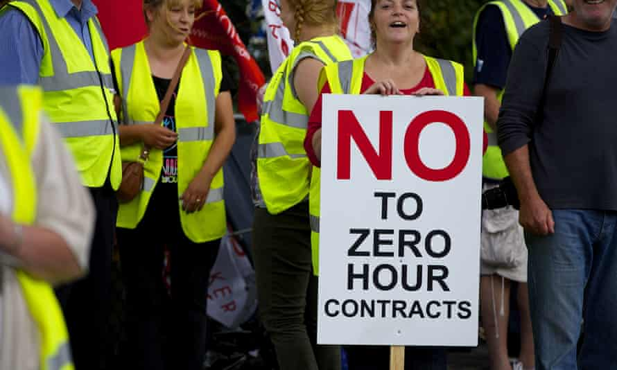 Workers at the Hovis bakery in Wigan protest over zero-hours contracts