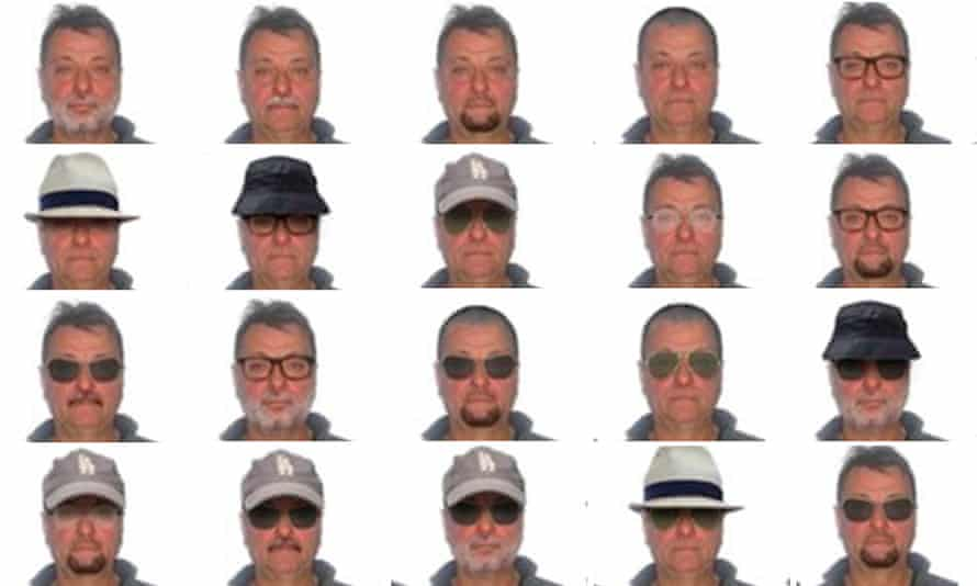 Images showing various possible likenesses of Cesare Battisti were released by Brazilian police.