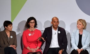 The Greens' Caroline Lucas, the Lib Dems' Layla Moran, Labour's Chuka Umunna and the Conservatives' Anna Soubry at a People's Vote campaign event