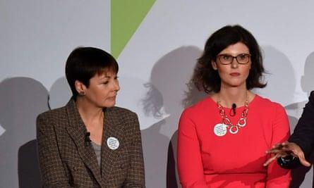 (L-R) British politicians, Green MP Caroline Lucas, Liberal Democrat MP Layla Moran