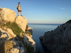Kevin Rusby standing on a rock on Lastovo island, Croatia