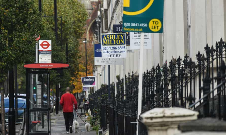 Letting signs outside properties in Maida Vale in London