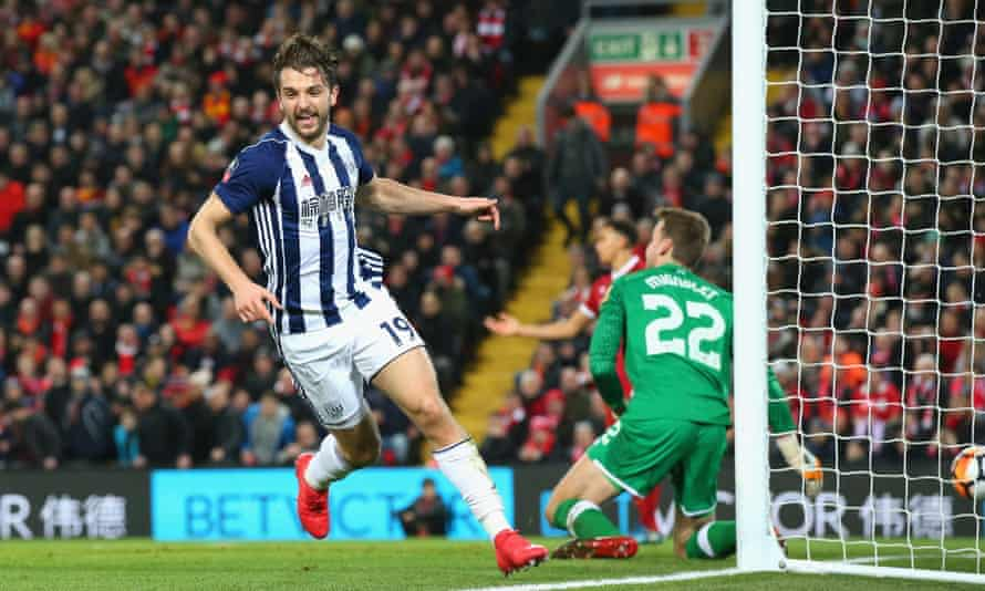 Jay Rodriguez wheels away after scoring West Bromwich Albion's second goal in a famous FA Cup fourth-round victory against Liverpool at Anfield.