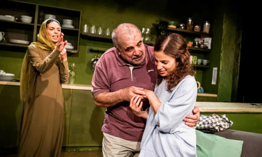 Myriam Acharki as Layla, Nayef Rashed as Hussein and Nalân Burgess in Out of Sorts.