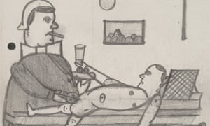 Pencil drawing by Nazi sterilisation victim Wilhelm Werner depicting nurse and patient