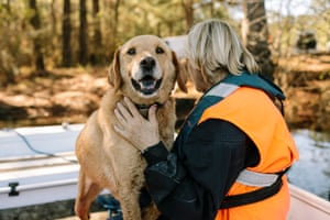 Ann Dugas and her nine-year-old dog Sundance after a water search exercise.