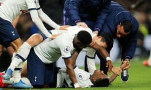 Tottenham players pile on Steven Bergwijn after the newcomer opened the scoring