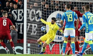 """Liverpool v Napoli, Champions League - 11 Dec 2018<br>EDITORIAL USE ONLY No use with unauthorised audio, video, data, fixture lists (outside the EU), club/league logos or """"live"""" services. Online in-match use limited to 45 images (+15 in extra time). No use to emulate moving images. No use in betting, games or single club/league/player publications/services. Mandatory Credit: Photo by Craig Galloway/ProSports/REX/Shutterstock (10030398bd) Liverpool goalkeeper Alisson Becker (13) pulls off another crucial late save during the Champions League Group C match between Liverpool and Napoli at Anfield, Liverpool Liverpool v Napoli, Champions League - 11 Dec 2018"""