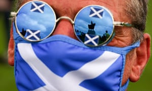 A supporter of Scottish independence on 19 August, 2020 at Bannockburn