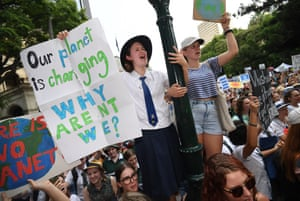Young people take part in the worldwide climate strike in Brisbane, Australia