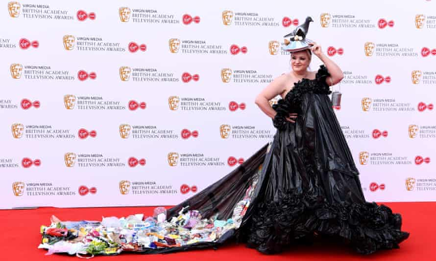 Daisy May Cooper in a bin-bag dress at the Baftas