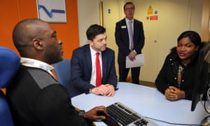 Stephen Crabb (second from left) visiting Enfield Jobcentre Plus