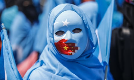 Protesters denounce China's treatment of ethnic Uighur Muslims in front of the Chinese consulate in Istanbul, July 2018.