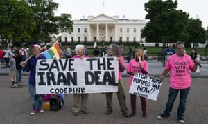 Members of the anti-war group Code Pink demonstrate in front of the White House