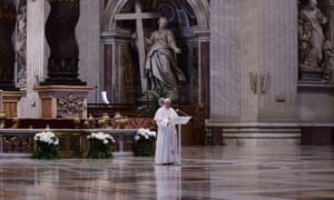 Pope Fancis celebrates Easter mass in an empty St Peter's Basilica. Easter Sunday Mass, Vatican City, Italy, 12 Apr 2020