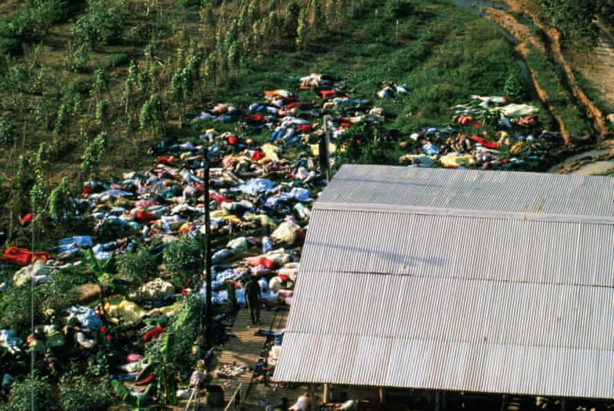 Aerial view of mass suicide at the Peoples Temple Cult  at Jonestown, Guyana in 1978