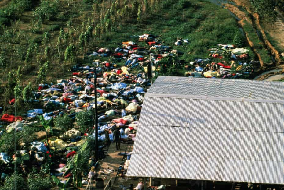 An aerial view of the mass suicide at Jonestown, Guyana which took place 40 years ago, on 18 November 1978.