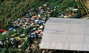 The Peoples Temple mass suicide at Jonestown, Guyana, November 1978.