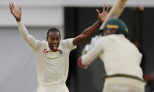 Jofra Archer celebrates after taking the wicket of Nathan Lyon, his sixth.