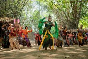 A transgender dancer leads the performance at the Beksa Wiraga Satria dance studio in Yogyakarta, Indonesia, 2020
