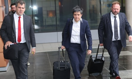 Maurice Blackburn barrister Lisa De Ferrari (centre) leaves the federal court in Melbourne