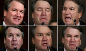 Brett Kavanaugh's facial expressions during his testimony.