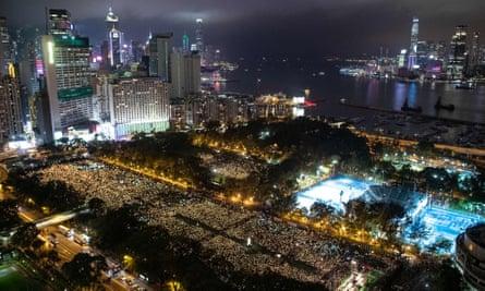 Last year's candlelit vigil in Hong Kong commemorating the Tiananmen Square massacre.