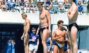 West Hollywood Aquatics Team member Jim Ballard, center.
