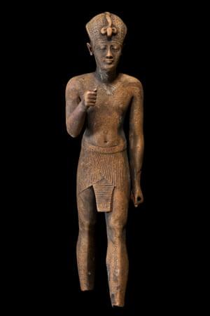 Bronze statuette of a pharaoh.