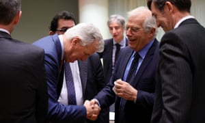 Michel Barnier (left) shakes hands with Spain's foreign minister, Josep Borrell.