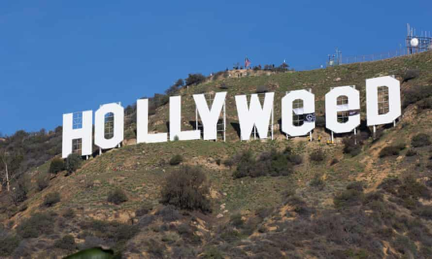 The Hollywood sign, as altered by a New Year's Eve vandal.