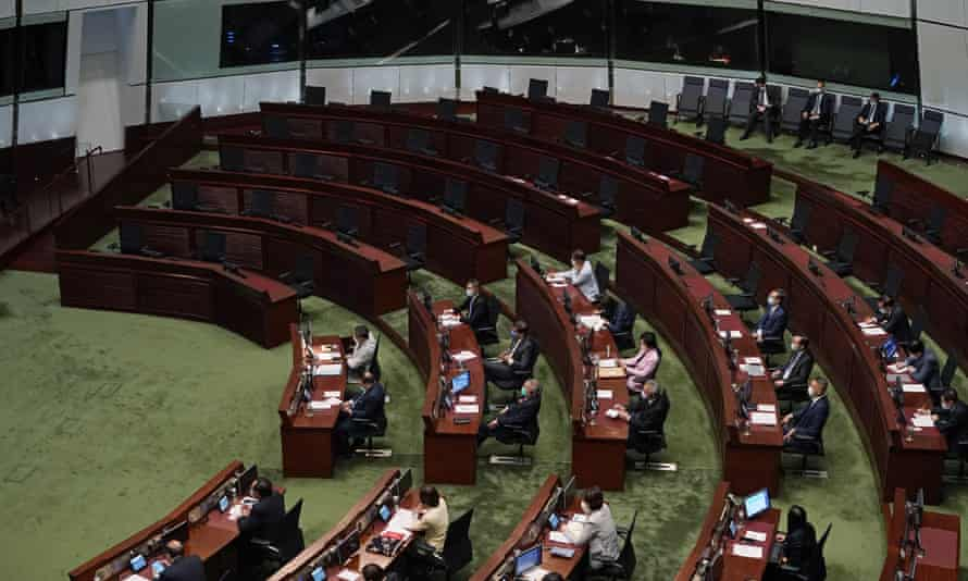 The seats of pro-democracy legislators were empty as Hong Kong's Carrie Lam delivered her speech