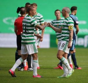 Patryk Klimala celebrates with Scott Brown after Celtic win 5-1.