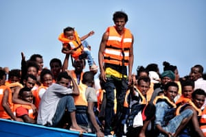 People waiting to be rescued