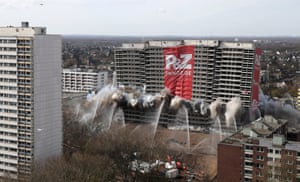 Duisburg, Germany. The Weisse Riese or White Giant 22-storey residential building crumbles under the impact of explosives during its demolition