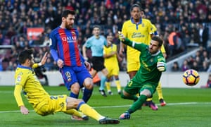 Lionel Messi fires home Barcelona's second.