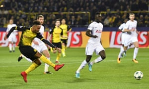 Dortmund's Pierre-Emerick Aubameyang fires in the opening goal.