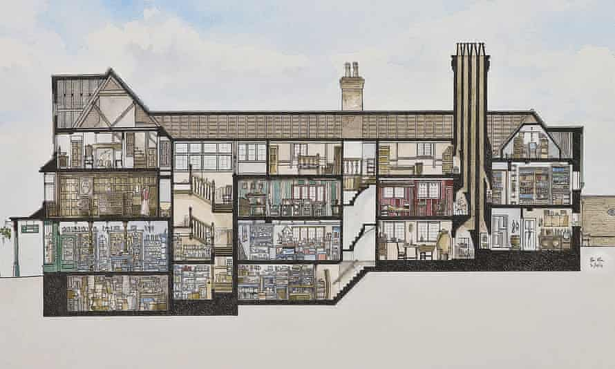 A watercolour cross-section of the Merchant's House.