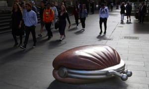 The Public Purse sculpture in Bourke Street mall in Melbourne this week as the economy moved centre stage in the political debate.