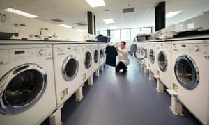 The bank of washing machines at Newcastle University