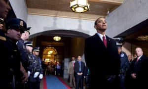 Barack Obama waits seconds before being introduced at his swearing-in ceremony at the US Capitol in Washington on 20 January 2009.
