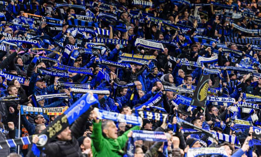 Atalanta supporters during the Champions League game against Valencia on 19 February, 2020.