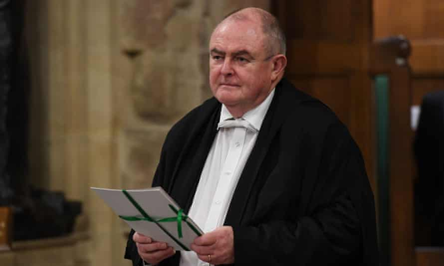 The withdrawal agreement bill is carried between the two Houses of Parliament by the clerk of legislation Liam Laurence Smyth.