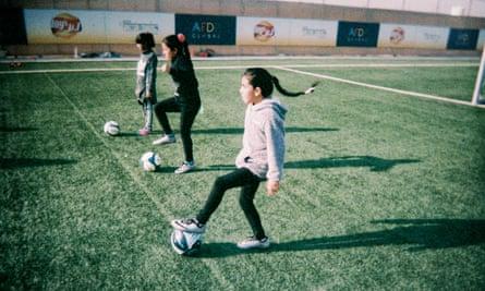 Syrian girls' football in Zaatari refugee camp, Jordan