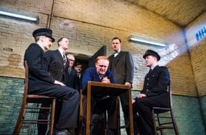 Ryan Pope, Reece Shearsmith, Simon Rouse, Ben Carmichael, Josef Davies, David Morrissey and Graeme Hawley in Hangmen by Martin McDonagh, directed by Matthew Dunster, in 2015.